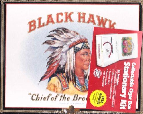Black Hawk Collectible Cigar Box Writing Stationary Kit (Cardboard Cigar Box)