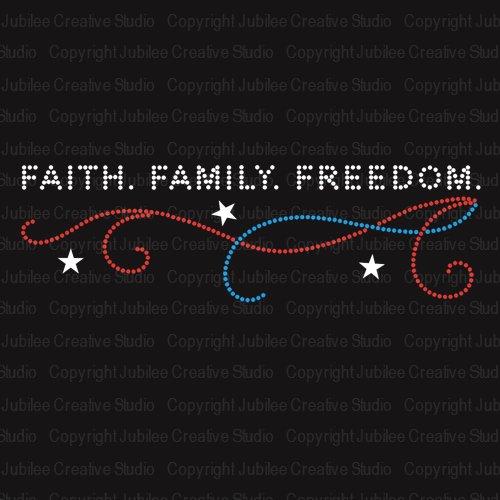 Faith Family Freedom Iron On Rhinestone Crystal T-Shirt Transfer by JCS Rhinestones ()