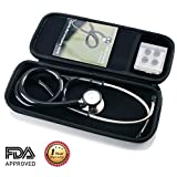 Dual Head Stethoscope with Stethoscope Carrying Case for Adult and Pediatric (Black+)