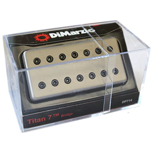DiMarzio DP714 Titan 7 String Humbucker Bridge Pickup, Satin Nickel Cover w/Black (Humbucker Pickup Bridge Nickel Cover)