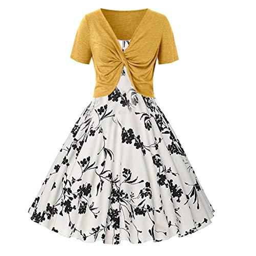 (TIANMI Women Dress Fresh Flowers Print Dress Sling Pullover Two-Piece Set(Yellow,L))