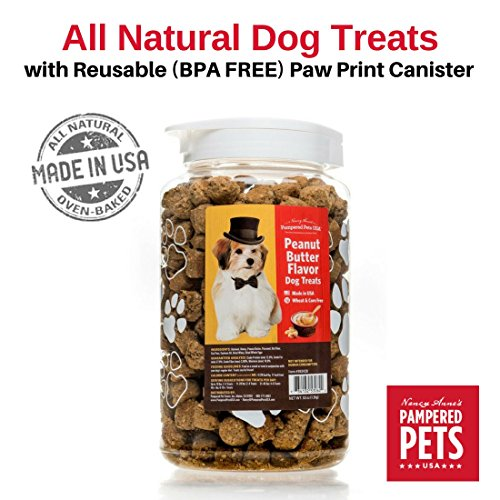 Peanut Butter Flavor Dog Treats In 53 Ounces, Bpa-Free, Reusable Canister – Made In Usa – Oven-Baked, Soft And Delicious