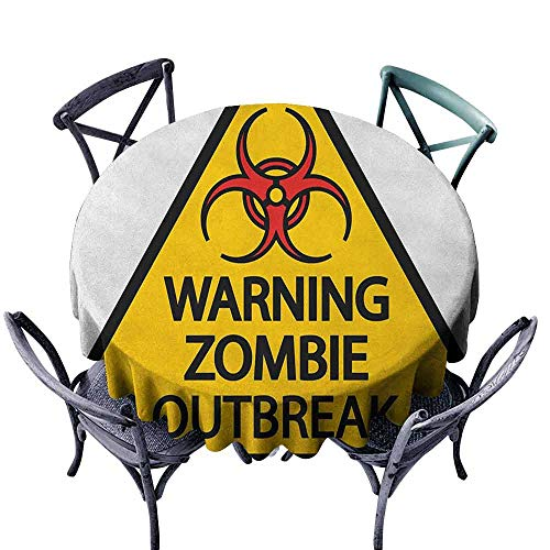 ScottDecor Dinning Round Tablecloth Christmas Tablecloth Zombie,Warning The Zombie Outbreak Sign Cemetery Infection Halloween Graphic, Earth Yellow Red Black Diameter 50