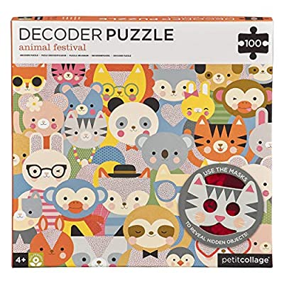 Petit Collage 100 Piece Decoder Puzzle, Animal Festival, Ages 4+ Years: Toys & Games