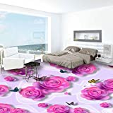 LHDLily 3D Wallpaper Mural Wall Sticker Thickening Photo Custom Floor Painting Pink Roses Butterfly Fashion Bedroom Pvc Floor Sticker Waterproof 300cmX200cm