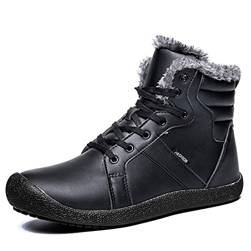 CIOR Mens Snow Boots Lace up Ankle Sneakers High Top Winter Shoes with Fur Lining-PU.2Black.47