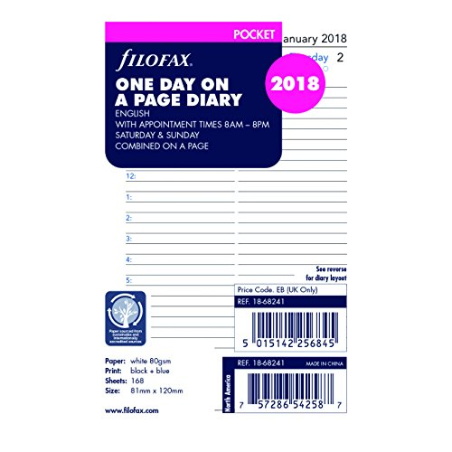 Filofax 2018 Pocket Day on a Page Refill, Jan 2018- Dec 2018, 4.75 x 3.25 inches (C68241-18)