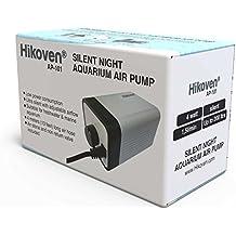 Hikoven Silent Night Quiet Aquarium Air Pump with Adjustable Air flow - Complete Set - Air Stone Air Tube and Non Return Valve