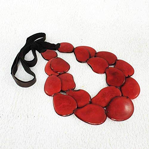 (Red Statement Bib Necklace made of Chunky Tagua Nut)