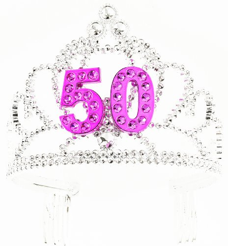 Forum Novelties Happy Birthday 50th Silver Pink Tiara ()