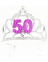 Forum Novelties Happy Birthday 50th Silver Pink Tiara