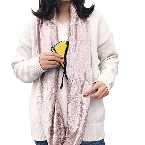 Amazon 2018 Christmas Unisex Winter Velvet Warm Loop Zipper Secret Pocket Infinity Scarf Shawl Ring HunYUN for $<!--$2.32-->