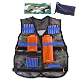 Fody Camo Tactical Vest Kit for Nerf N-Strike Elite Series Gun Game + 20-Dart Refill + Vision Gear + 5-Dart Quick Reload Clip + 12-Dart Quick Reload Clip + Camouflage Face Tube Mask