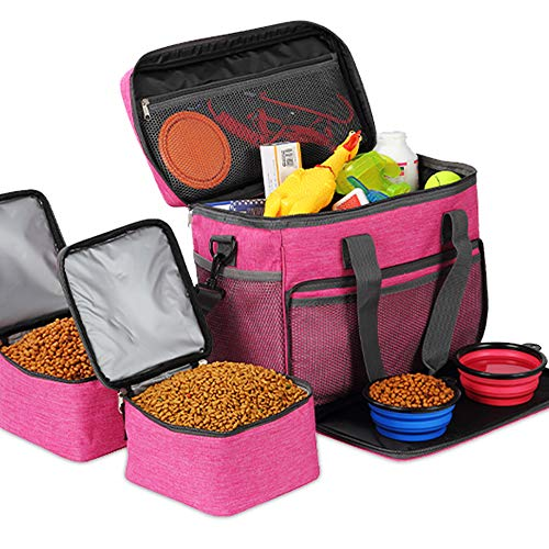 KOPEKS Cat and Dog Travel Bag - Includes 2 Food Carriers, 2 Bowls and Place mat - Airline Approved - Heather Pink