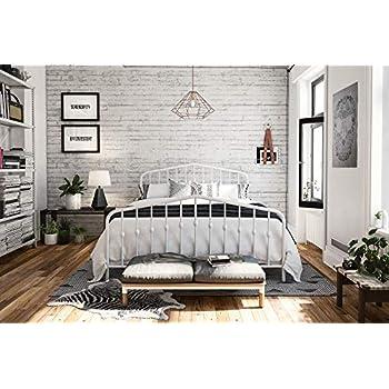 Novogratz Bushwick Metal Bed, Modern Design, Full Size - White