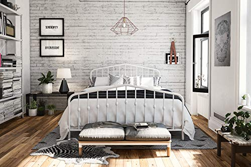 Novogratz Bushwick Metal Bed, Queen, White (Headboards Antique Metal)