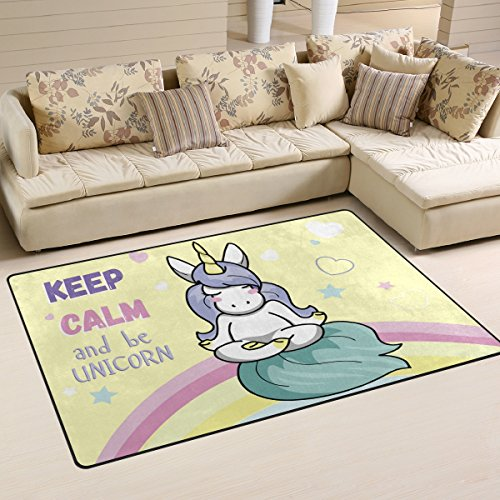 WellLee Area Rug,Cute Unicorn Meditation Sitting Keep Calm Floor Rug Non-Slip Doormat for Living Dining Dorm Room Bedroom Decor 60x39 inch by WellLee