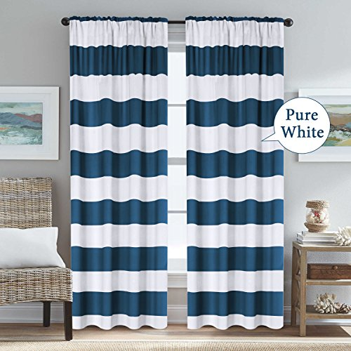 H.VERSAILTEX Striped Blackout Curtains Rod Pocket Thermal Insulated Nautical Navy and Pure White Curtains Drapes for Living Room/Bedroom 52W x 84L, 2 Panels