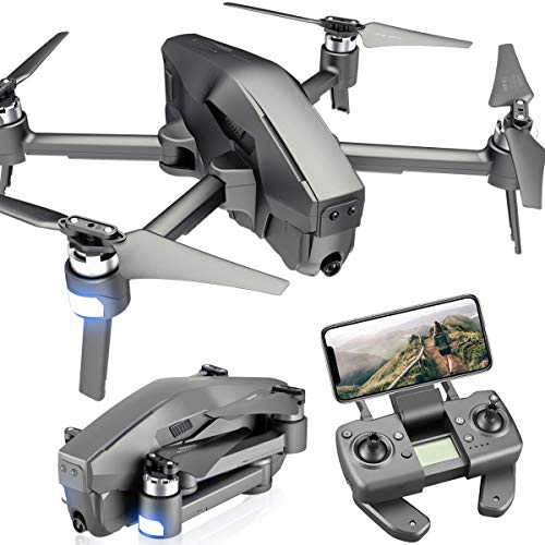 4DRC M1 Foldable GPS Drone with 4K FHD 5G Transmission WiFi Camera for Adults, Quadcopter with Brushless Motor, Auto Return Home, Follow Me, 30 Minutes Flight Time, 1600M Control Range, Black