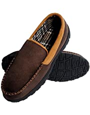 festooning Men's Moccasin Slippers Pile Lined Microsuede Indoor Outdoor Slip On House Shoes