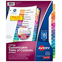 Avery Ready Index Table of Contents Dividers, 15-Tab Set, 1 Set (11143)