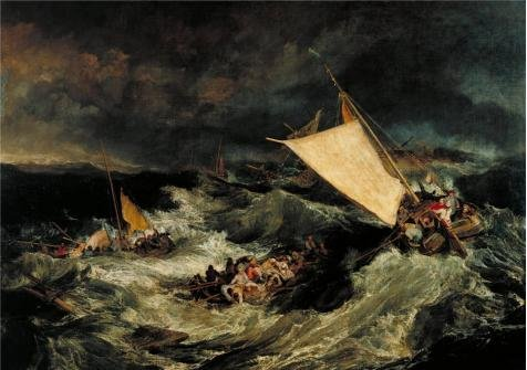 'Joseph Mallord William Turner - The Shipwreck,1805' Oil Painting, 18x26 Inch / 46x65 Cm ,printed On High Quality Polyster Canvas ,this Best Price Art Decorative Prints On Canvas Is Perfectly Suitalbe For Powder Room Decoration And Home Decor And Gifts