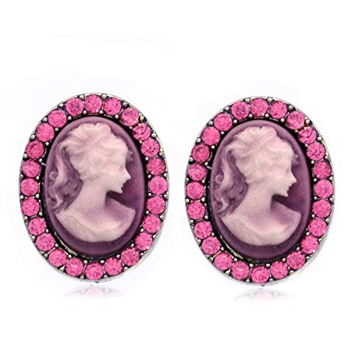 (SoulBreezeCollection White Gray Cameo Stud Earrings Post Fashion Jewelry (Pink))