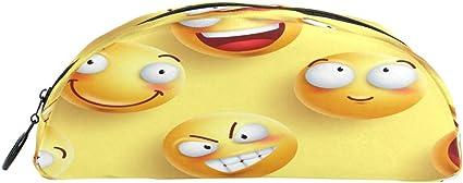 BIGJOKE - Estuche para lápices con diseño de emoticono y emoji con cremallera, bolsa para brochas de maquillaje para niñas, niños, adolescentes, adultos, escuela, estudiantes, oficina, suministros: Amazon.es: Oficina y papelería