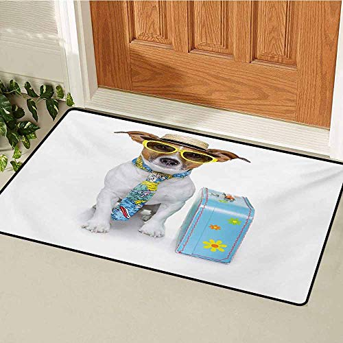 GUUVOR Dog Inlet Outdoor Door mat Traveler Funny Dog Dressed as a Tourist with Hat Glasses Necktie and a Floral Suitcase Catch dust Snow and mud W15.7 x L23.6 Inch Multicolor