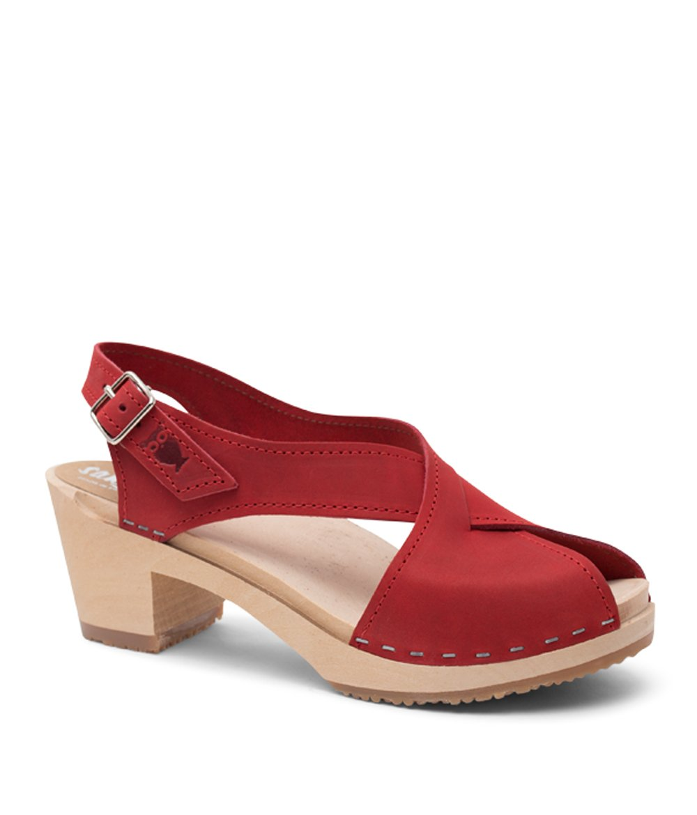 Sandgrens Swedish High Heel Wood Clog Sandals for Women | Red Morocco by, size US 9 EU 39
