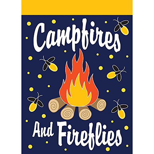 Campfires And Fireflies Fiery Midnight 30 x 44 Rectangular Large House Flag