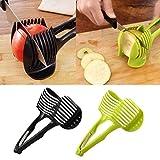 Malltop Kitchen Convenient Tools Handheld Circular Lemon Tomato Slices Fruit Slicer (Green/Black in Random)