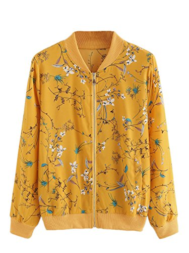 Verdusa Women's Casual Floral Printed Zip up Bomber Jacket Outwear 0-Multicolor2 S by Verdusa