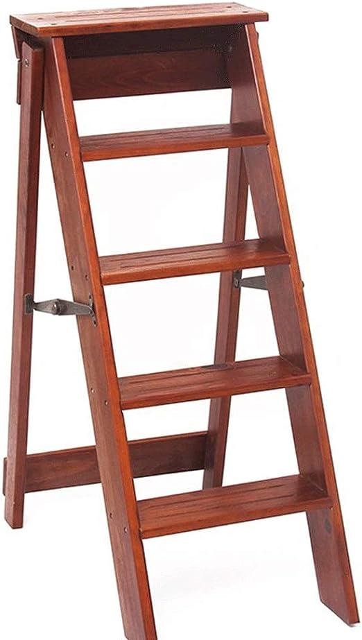 Vnlig Escalera pequeña Plegable de Madera Maciza, Sencilla, Multifuncional, Creativa, Interior, Escalera Ascendente, Banco (Color : Light Walnut): Amazon.es: Hogar