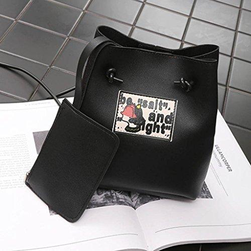 Bovake - Bolso mochila  de Piel para mujer negro