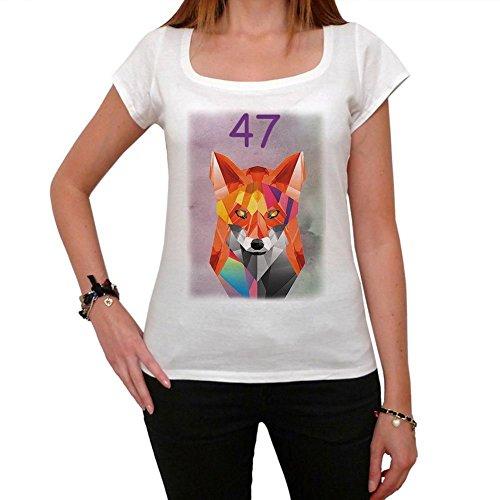 Geometric Tiger Fox Number 47, geométrico tigre zorro camiseta, divertido y elegante camiseta mujer, número camiseta mujer, camiseta regalo, regalo mujer blanco