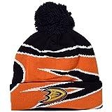 adidas NHL Anaheim Ducks Cuffed Pom Knit Hat, Black, One Size