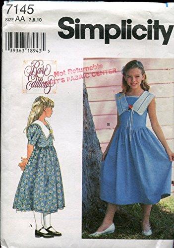 (Simplicity Pattern 7145 ~ Rare Editions Girls' Dress ~ Size 7, 8,)