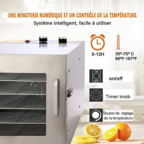 600W déshydrateur alimentaire inox, déshydrateur alimentaire électrique,déshydrateur fruits et légumes,Déshydrateur électrique à température réglable, 6 plateaux