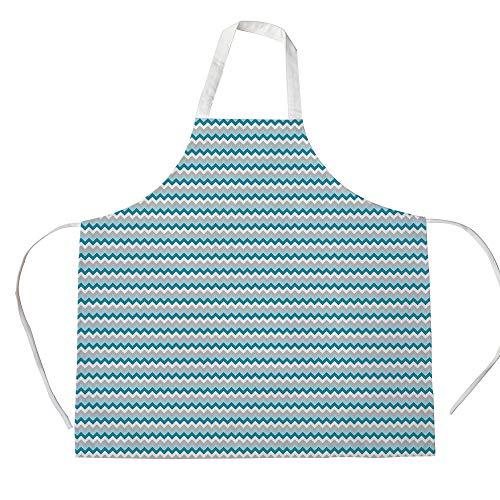 Chevron 3D Printed Cotton Linen Apron,Zigzag Tribal Cross Geometric Abstract Triangles Symmetric Arrows Motif Decorative,for Cooking Baking Gardening,Grey White Petrol Blue ()