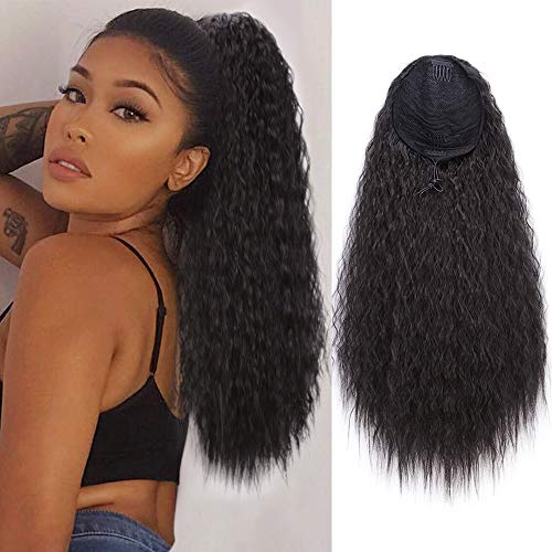 Buy Ponytail Wigs (AISI QUEENS Long Wavy Drawstring Ponytail Synthetic Corn Wave Ponytail Extension Loose Deep Wave ponytail Hairpieces for Women)