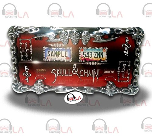Cruiser Accessories 25135 Chrome/Black Skull and Chain License Plate Frame
