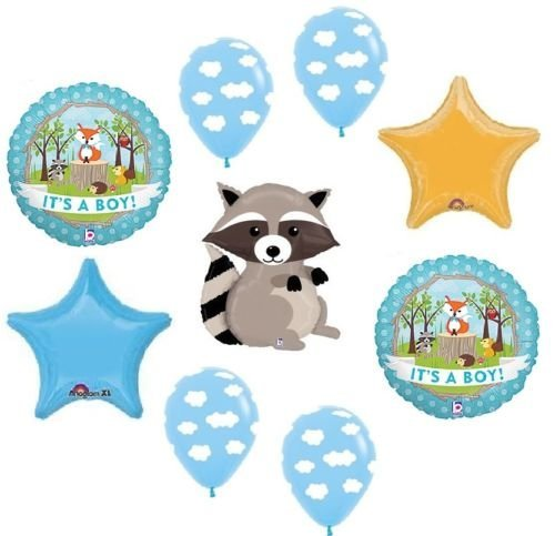 LoonBalloon RACCOON Woodland Animals It's a BOY Welcome Baby Shower Party Mylar Balloons Set by LoonBalloon