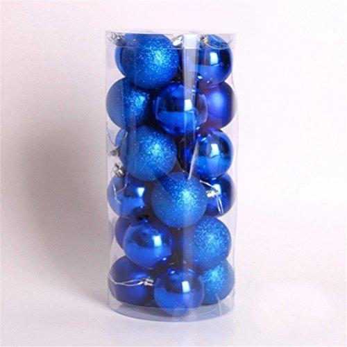UEETEK 24pcs Shatterproof Glittering Christmas Balls Ornaments For Christmas Tree Holiday Xmas Garden Decorations (Blue) -