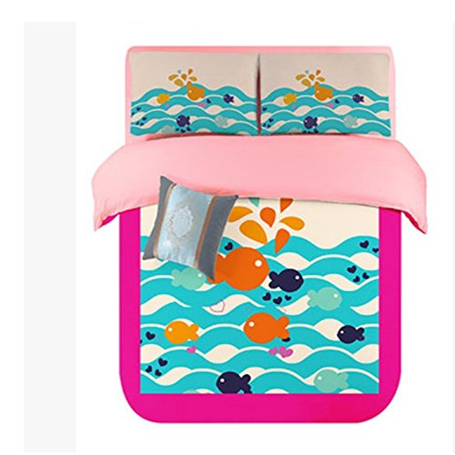 Lt Twin Full Queen Size 4-pieces Orange Blue White Fish Ocean Soft Sanding Brushed for Kids Boys Girls Teens Character Cartoon Toddler Prints Fitted Sheet Sets (Mattress Cover) Ruffle Duvet Cover Set/bed Linens/bed Sheet Sets/bedclothes/bedding Sets/bed Sets/bed Covers/5-pieces Comforter Sets/bed in a Bag (Twin, 4pcs without comforter)