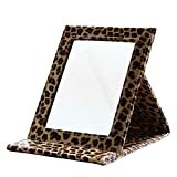 KINGFOM Portable Folding Vanity Mirror with Stand Pu Leather Cover Tabletop Makeup Mirror Large(Leopard)