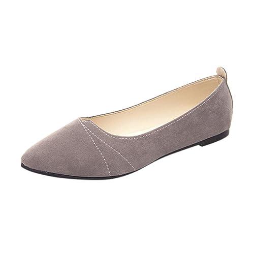 FNKDOR Damen Slipper Ballerinas Halbschuhe Espadrilles Flach Schuhe (38, Grau)