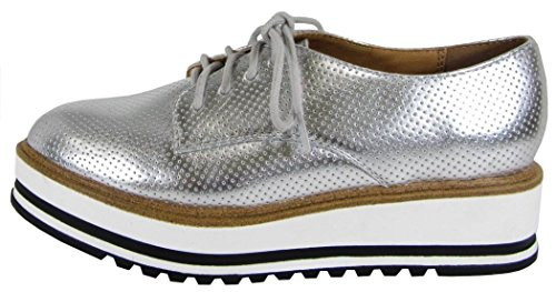 Soda Womens Lace Up Platform Zeppa Scarpa Oxford Argento