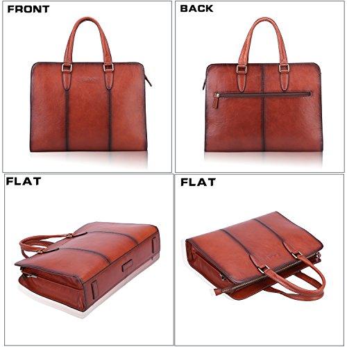 Banuce Vintage Full Grains Italian Leather Briefcase for Women Tote Handbag Attache Case 14 Inch Laptop Messenger Bag by Banuce (Image #1)