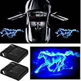 3D Wireless Magnetic Car Door Step LED Welcome Logo Shadow Ghost Light Laser Projector Lamp(Blue Horse)